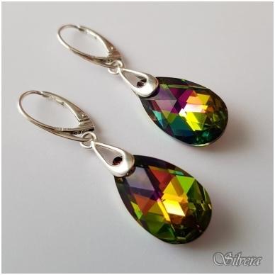 Sidabriniai auskarai su swarovski kristalu Au4055 2
