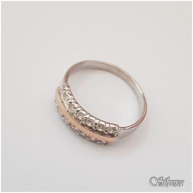 Sidabrinis žiedas su aukso detalėmis ir cirkoniais Z1255; 18,5 mm 2
