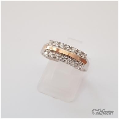 Sidabrinis žiedas su aukso detalėmis ir cirkoniais Z1255; 19,5 mm
