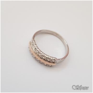 Sidabrinis žiedas su aukso detalėmis ir cirkoniais Z1255; 19,5 mm 2