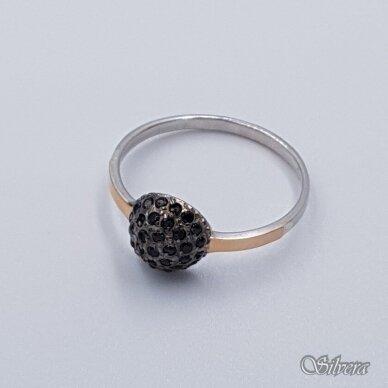 Sidabrinis žiedas su aukso detalėmis ir cirkoniais Z1457; 18,5 mm 2