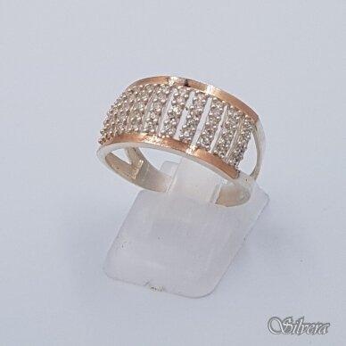 Sidabrinis žiedas su aukso detalėmis ir cirkoniais Z1473; 19 mm