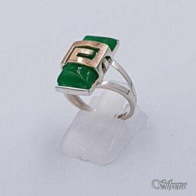 Sidabrinis žiedas su aukso detalėmis ir nefritu Z1467; 18 mm
