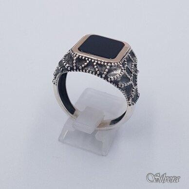 Sidabrinis žiedas su aukso detalėmis ir oniksu Z204; 22 mm 3