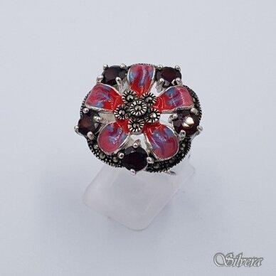 Sidabrinis žiedas su emaliu, markazitais ir cirkoniais Z217; 18,5 mm