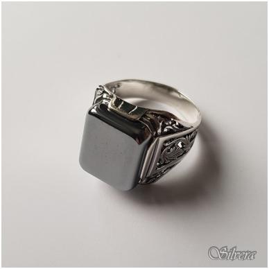 Sidabrinis žiedas su hematitu Z084; 21 mm 3