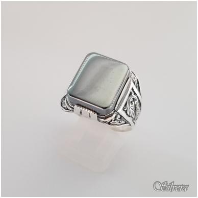 Sidabrinis žiedas su hematitu Z084; 22 mm
