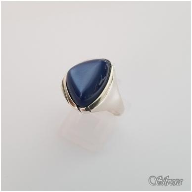 Sidabrinis žiedas su katės akies akmeniu Z1299; 18 mm