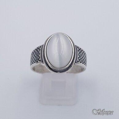 Sidabrinis žiedas su katės akies akmeniu Z198; 20 mm 2