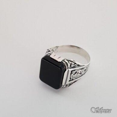 Sidabrinis žiedas su oniksu Z151; 22mm 3