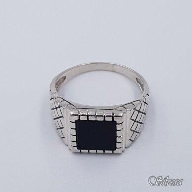 Sidabrinis žiedas su oniksu Z233; 21 mm 2
